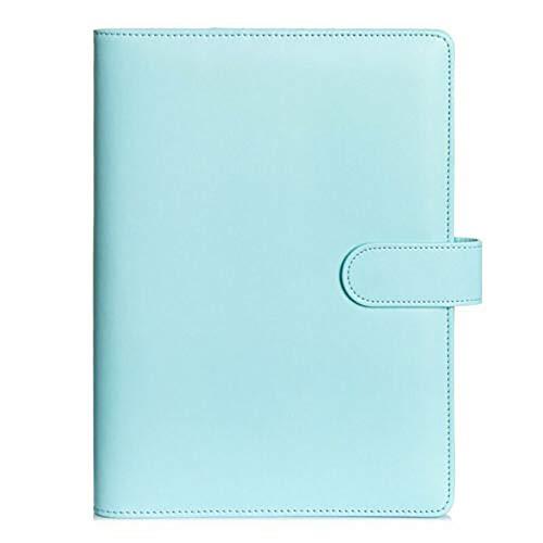 I3C Carpeta de piel sintética para cuadernos, rellenable, 6 anillas redondas, para papel de relleno, organizador personal, carpeta de 6 agujeros, carpeta con cremallera (azul)