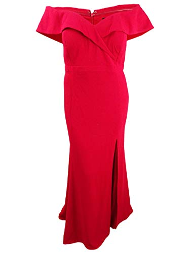Xscape Womens Plus Sweetheart Neck Off The Shoulder Evening Dress Red 14W