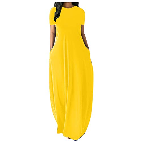 Women's Fashion Dress Colorful Pure Color Print Sleeveless Long Dress Summer Elegant V-Neck Vest Maxi Dress Yellow