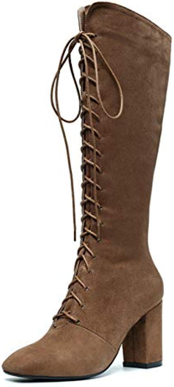 HAOLIEQUAN Frauen Stiefel Stiefel Stiefel Kid Alle Spiel Winter Schuhe Alle Spiel Spitze Zehe Schnürung Frauen Motorrad Stiefel Größe 34-43  4b6753