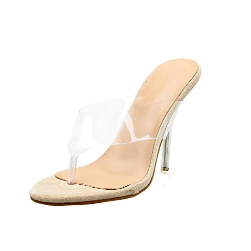 LHWY Sandalias de Vestir Chanclas Zapatos de Mujer Boda de Fiesta Sandalias Altas Atractivas en Punta Sandalias de Zapatilla Transparente