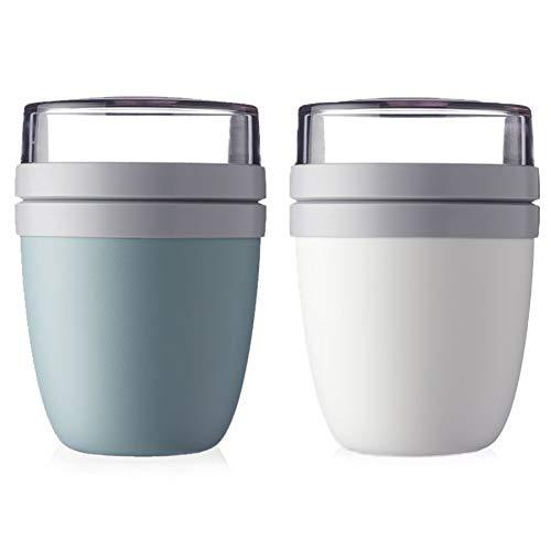 Mepal Lunchpot Ellipse 2-er Set Lunchbox Essensbehälter (Nordic Green und weiß)