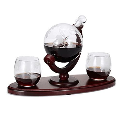 MOHAN88 Whisky Decanter Globe Set con 2 Vasos de Whisky Globe Grabados para cócteles de Vino Licor Scotch HomeBar Beverage Ser