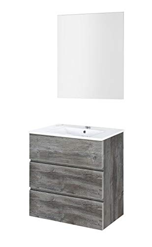 Baikal 830134024 Conjunto de Muebles de Baño con Lavabo y Espejo Luna Lisa, Suspendido a la Pared, Tres Cajones, Acabado en Roble Vintage, 60 X 76 X 46 cm