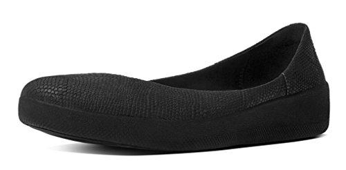 FitFlop Superballerina Snake zapatos planos en relieve, negro, US 8