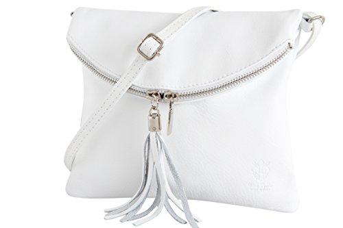 AMBRA Moda italiana bolso bandora de cuero suave embrague pequeñas bolsas de hombro de mujer NL610 (blanco)