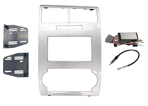Radio Stereo Car Install Double Din Silver Bezel CAN-Bus Premium Systems Steering Wheel Interface Harness & Antenna Adapter Compatible with Dodge Charger 2006 2007 Magnum 2005-2007