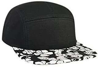 OTTO Wholesale 12 x Cotton Twill w/Hawaiian Pattern Square Flat Visor 5 Panel Camper Hat - (12 Pcs)