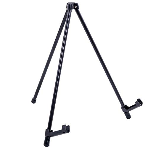 """U.S. Art Supply 14"""" High Exhibitor Black Steel Tabletop Instant Display Easel - Small Portable Tripod Stand, Adjustable Holders - Display Paintings, Framed Pictures, Event Signs, Posters, Holds 5 lbs"""