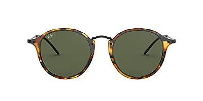 Ray-Ban RB2447 Round Fleck Sunglasses, Spotted Black Havana/Green, 49 mm