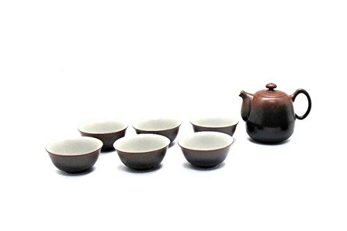 Tea Soul B6021536 Service THÉIÈRE ET 6 Tasses Noire & Rouge Céramique, Noir/Rouge