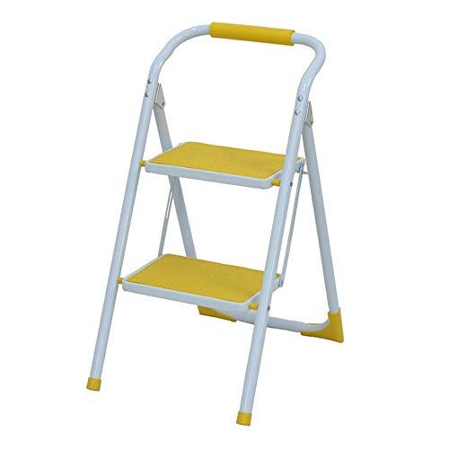 2 Passaggio di feci Stepladders Leggero piegante Bianco Scala a pioli con Impugnatura Antiscivolo Robusta e Wide Pedal Steel Ladder Mini-Stool