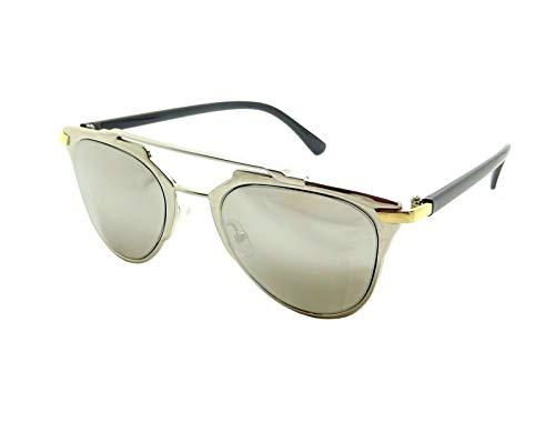 Gafas de sol plateadas con efecto espejo real para hombre y mujer, doble puente, metal dorado