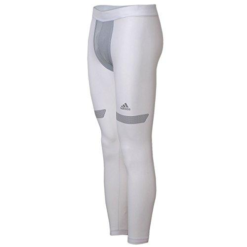 adidas Herren Techfit Chill Long Tight Fußball Running Sport Lange Unterhose (S, weiß)