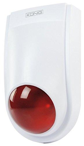 Piccola Sirena d'allarme finta Konig dall'aspetto professionale con LED, Protezione IP44, Vano Pile e Spazio interno.
