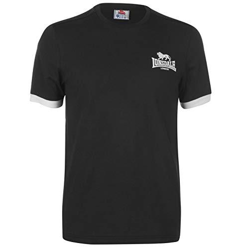 Lonsdale Herren T Shirt Kleines Logo Rundhals Kurzarm Schwarz L