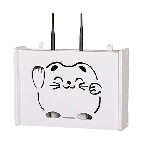 XLBHSH WiFi para TV Set-Top Rack para Colgar en la Pared,Organizador de Oficina de Madera de plástico para decoración de la habitación,Blanco