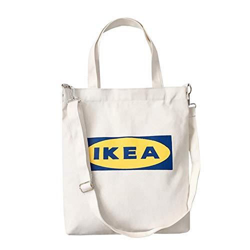SENDALING Shopper-Taschen Damen Handtaschen Buchstabe-Druck-Tuch Leinwand-Tasche Baumwolle Einkaufen Reisen Frauen Eco Wiederverwendbare Schulter,weiß IKEA
