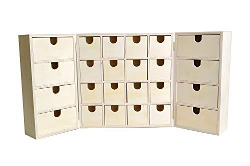 Artemio 14002225Adventskalender zum Dekorieren Triptique Holz 55x 6,5x 28cm