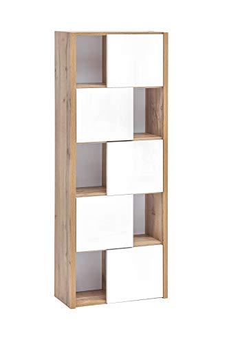 Schildmeyer Soko Hängeregal, weiß Glanz/Eiche Landhaus, 51.8 x 23.4 x 137,2 cm (B/T/H)
