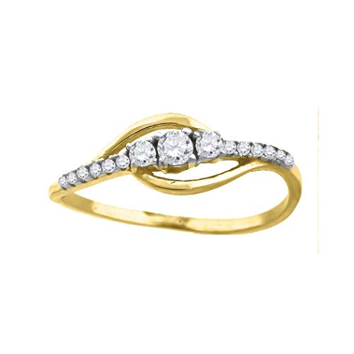 Förlovningsring för kvinnor 10 karat guld zirkon rund 2,7 x 1,3 mm bred – S – högre guldkvalitet än 9 karat guld