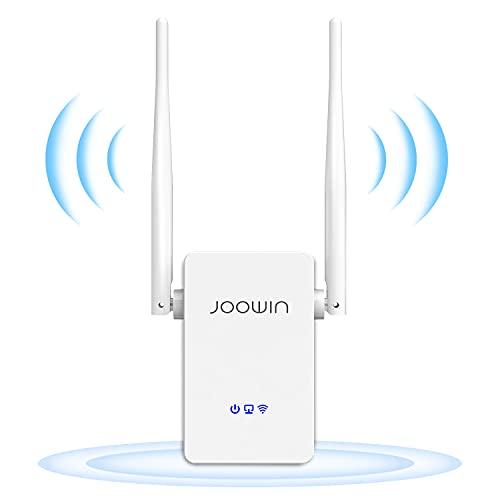 JOOWIN Repetidor WiFi Amplificador Señal WiFi 300Mbps Inalámbrico WiFi Extensor con Botón WPS Repetidores Punto Acceso Puerto Ethernet 2 Antenas externas, Repetidor/Enrutador/Ap Modos
