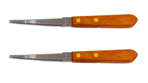 Couteau de pamplemousse – dentelé Lame en acier inoxydable avec manche en bois (lot de 2 couteaux)