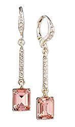 Pave and Stone Linear Drop Earrings in Peach Colour