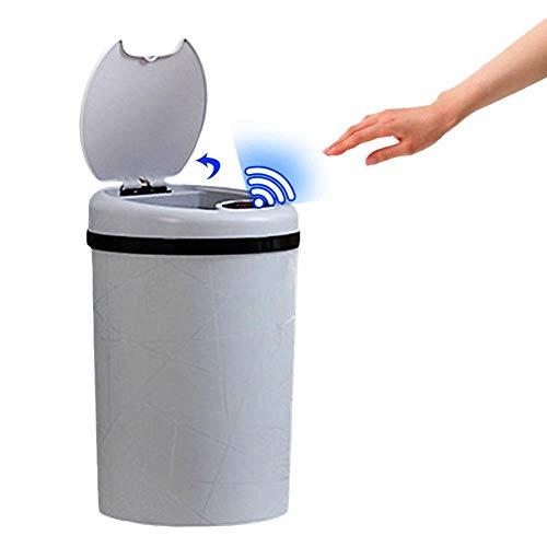Cubo de basura con sensor automático de 11 litros, cubo de basura inteligente tipo flip, completamente automático, con tapa, para salón, dormitorio, cocina, cuarto de baño