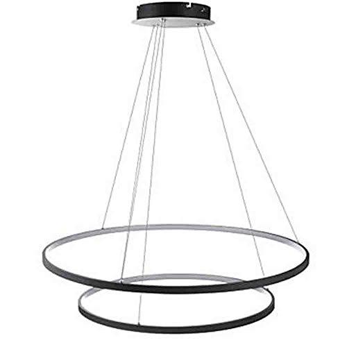 MEICHEN 2-Light Circolare Luci Pendenti Luce Ambientale - Oscurabile, con LED, 110-120V / 220-240V, Bianco Caldo/Bianca, Sorgente,Black,White