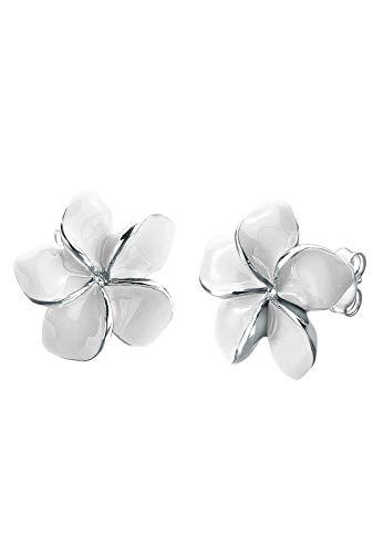 Elli Ohrringe Damen Frangipani Blüte Natur Blume Emaille in 925 Sterling Silber
