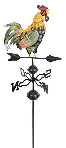 Dekoleidenschaft Metall-Hahn auf Windrad, handbemalt, Windrichtungs-Anzeiger, Gartenstecker, Wetterfahne