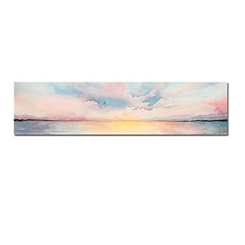 "HSFFBHFBH Cuadros de Lienzo Nubes Rosadas Pinturas de paisajes Marinos Carteles e Impresiones Cuadros para Sala de Estar Paisaje Decoración Moderna 40x120cm (15.7""x47.2) Sin Marco"