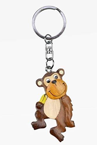 Unbekannt Schlüsselanhänger AFFE mit Banane aus Holz und Metall, Affen Tier Tiere