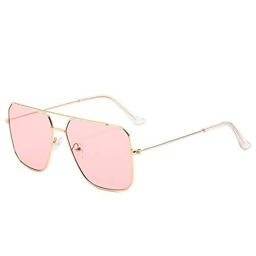 NJJX Polygon Gafas De Sol Para Mujeres Hombres Retro Gradient Shades Gafas De Sol Metal Double Beam Thin Border Eyewear Oculos Feminino Uv400 Goldpink