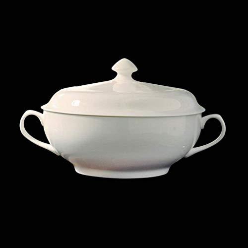 JOMOSIN CP0206 Home Personality Pure Bianco Bianco Bone Cina Pentola con Coperchio zuppa di zuppa di zuppiera Bowl 2000ml .Liscio