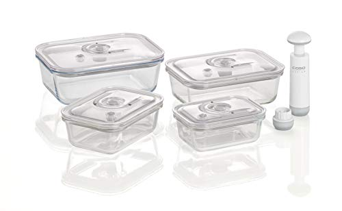 CASO VacuBoxx E-Set - eckig - 4 hochwertige Design Vakuumbehälter, BPA-Frei, inklusive Vakuum-Handpumpe und Adapter für alle CASO Vakuumierer mit Behälterfunktion