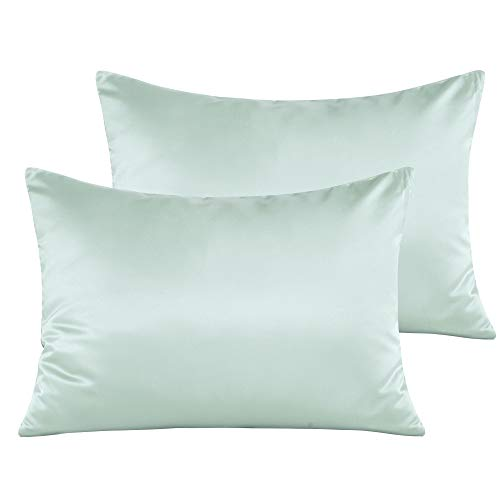 NTBAY Zippered Satin Toddler Pillowcases, 2 Pack Super Soft and Luxury Travel Pillow Cases, 13 x 18 Inches, Cyan