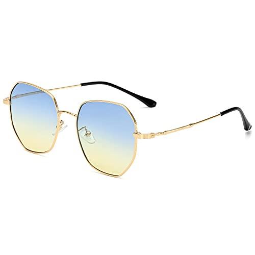 Único Gafas de Sol Sunglasses Gafas De Sol De Gran Tamaño para Hombre, Gafas De Sol Irregulares De Metal Vintage, Gafas