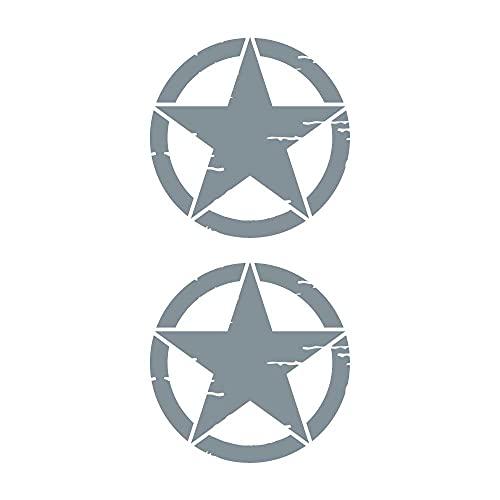 La Ruotante Juego de 2 pegatinas de estrella militar vintage destruida de los Estados Unidos 4 x 4, en varios tamaños y colores (plata, 50 cm)