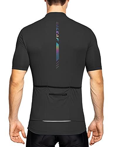 BALEAF Men's Cycling Jersey Biking Shirts Pockets Short Sleeve Bike Tops Black L