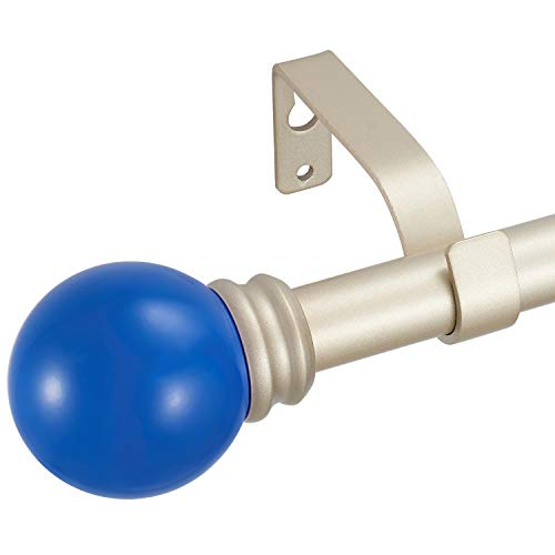 """Kemmie 3/4"""" Lightweight Decorative Window Curtain Rod with Solid Color Poly Ball Finials, Adjustable Length 48-84"""", Blue"""