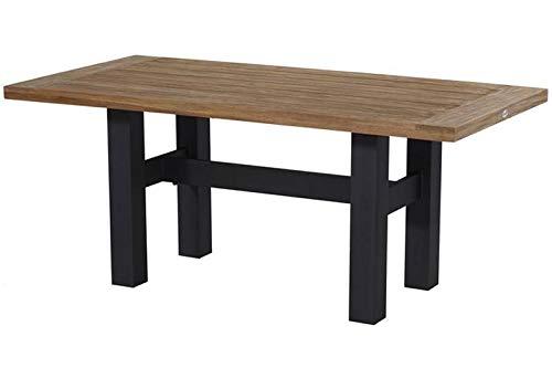 Hartman Yasmani Esstisch, Carbon Black/Vintage Brown aus Aluminium & Teak, 180x95cm, Gartentisch, Gartenmöbel Tisch