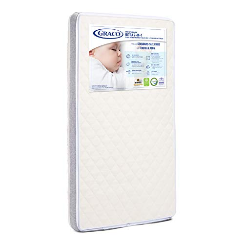 Graco Ultra Dual-Sided Premium Crib and Toddler Mattress – 2 Sides for Baby and Toddler, CertiPUR-US, GREENGUARD, JPMA Certified Crib and Toddler Bed Mattress, Water-Resistant, Machine-Washable Cover