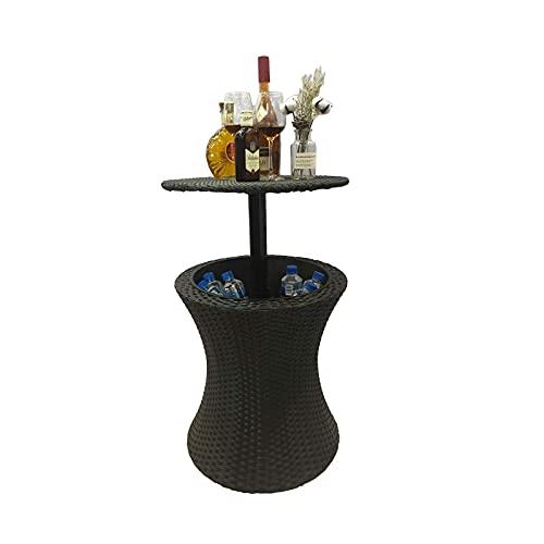 WECDS-E Breitseitiger Eiskübel PE-Rattan-Eiswein-Tisch Eisweinkühler mit gekühltem Getränk, Aufbewahrungsfächer für Gartenmöbel, geeignet für den Patio-Party-Garten im Freien