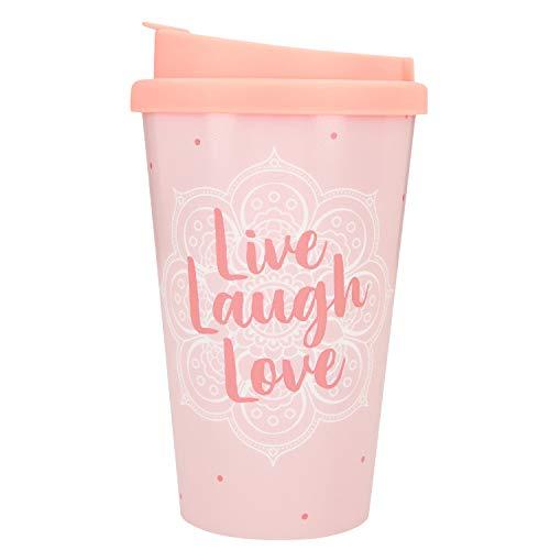 Depesche 2180.033 to-Go Becher aus Kunststoff mit Spruch, 350 ml, Live Laugh Love, Mehrfarbig