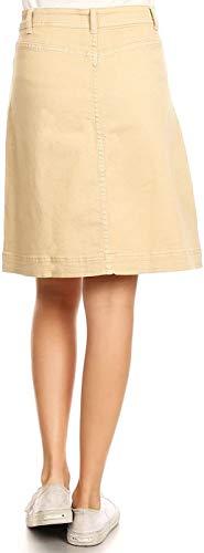 Mujer Dril De Algodón Del Estiramiento Elástico Botón Midi Falda Ropa Fiesta Tubo Una Línea De Pantalones De Mezclilla Falda De La Llamarada Falda De Una Línea Elegante Falda Faldas De Las Muchachas