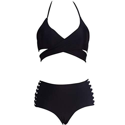 Riou Sexy Bikini Damen Set Push Up High Waist Solid Trägerlos Zweiteiliges Bikinis Set Frauen Sommer Sport Brüste Badeanzug Bauchweg Tankinis mit Bügel für Mädchen Strand Beachwear (S, Schwarz B)