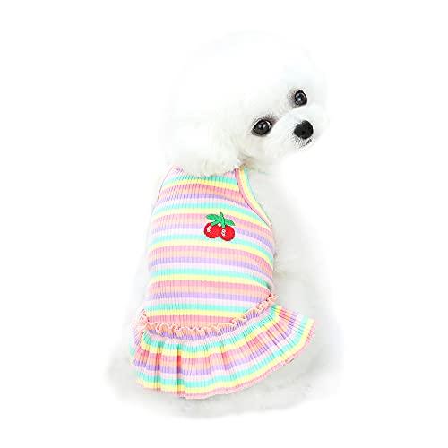 Falda para Perro, Falda de Camisa a Rayas para Mascotas YAODHAOD, Vestido Plisado con Camisola con Estampado de Cerezas, Vestido de Princesa de Verano con Volantes (Rosa, X-Large)