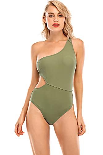 UMIPUBO Bikini de una pieza para mujer, traje de baño de una pieza sexy y un hombro a juego Verde S
